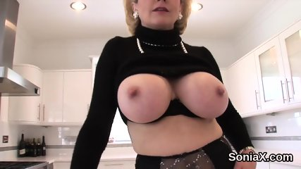 Unfaithful english milf lady sonia pops out her huge boobies