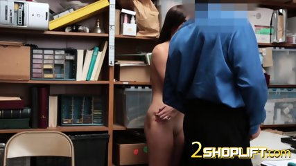 Petite shoplifter Jade Amber getting stripped and sucking security guard s dick