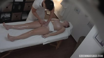 Masseur Touches Her Pussy