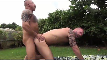 Strong Muscular Bear Sex By The Garden Pool