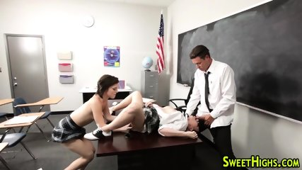Hot uniformed babe jizzed