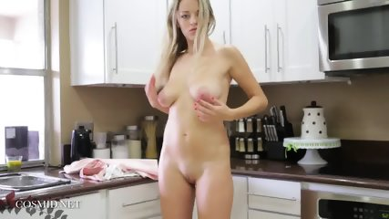 Sexy Blonde Gets Naked In The Kitchen
