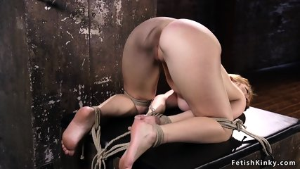 Hogtied babe ass spanked and fingered