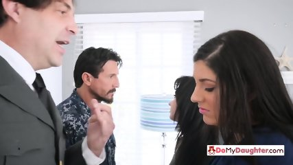 Horny daddies decide to discipline their kinky daughters by swapping