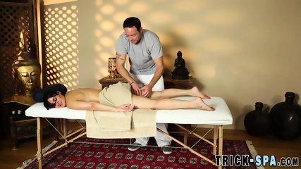 Brunette cummed on by masseur