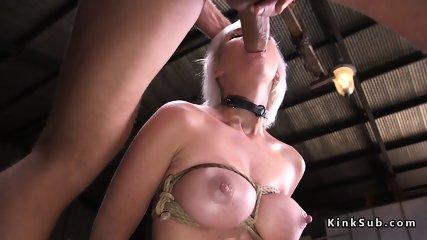 Extreme fucking for bound blonde babe