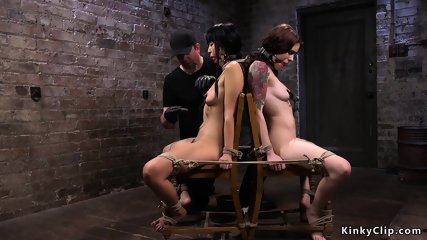Tied up babes made to lick in bondage