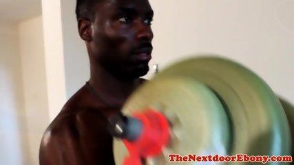 Fit amateur ebony hunk wanking big cock