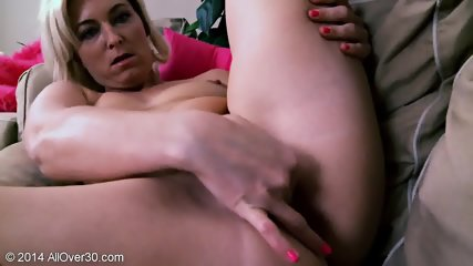 Mature Blonde In Solo Action On Sofa - scene 8