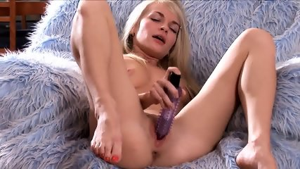 Beautiful Blonde Plays With Toy