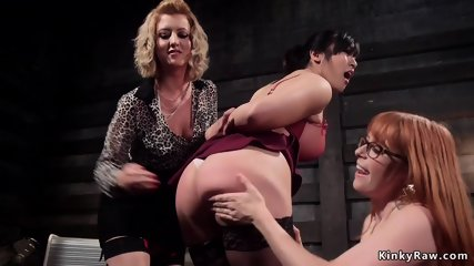 Lesbian spanked and fucked by coworkers