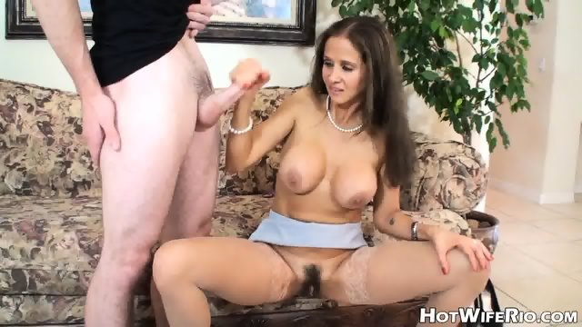 Busty Housewife With Hairy Pussy Takes Young Dick