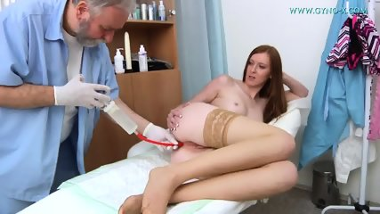Babe With Stockings Gets Gyno Exam - scene 9