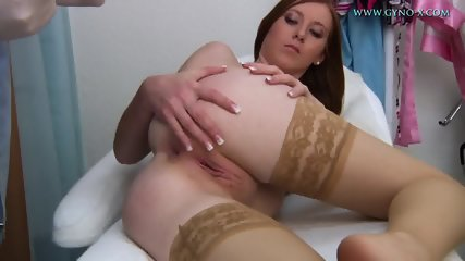 Babe With Stockings Gets Gyno Exam - scene 4