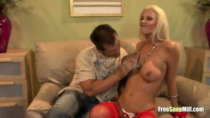 Big titted blonde milf giving a bj
