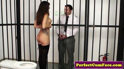 British jail babe sucking guard for facial
