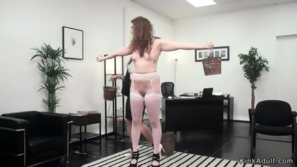 Busty mistress whips intern babe