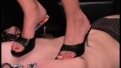 Femdom Brats trample slaves with heels