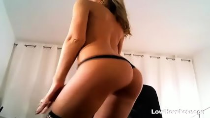 Sexy Blond In Black Lingerie Fucks Ass - scene 1