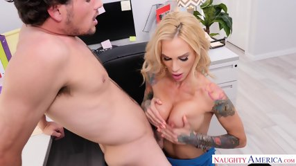 Action In Office With Busty Inked Whore - scene 4