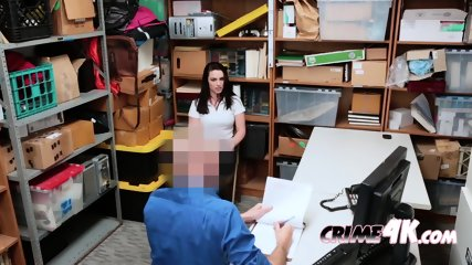 Raven gets caught committing fraud by horny mall cop with hard cock