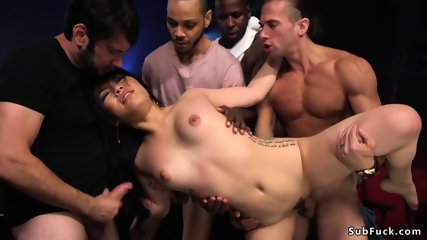 Nasty Asian gangbanged in theater
