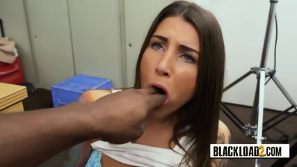 Tattooed chick with blue eyes gets banged hard by horny director