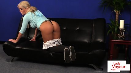 Busty voyeur Brit strips and tease giving JOI