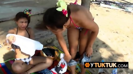 Horny tourist takes pictures of naughty sluts before banging their cunts