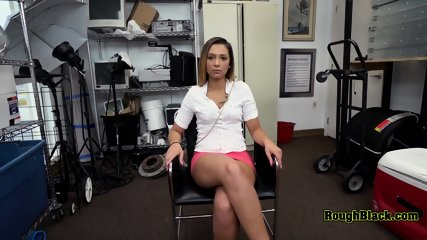 Pink skirt hottie gets her mouth and coochie stuffed by horny director
