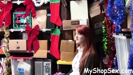 Cute Redhead Fucked For Stealing TV at MyShopSex.com