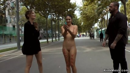 Hot brunette pissed and fucked in public