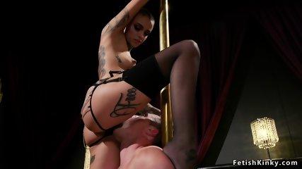 Alt pole dancer dominates male client
