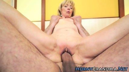 Hot grandma gets cumshot