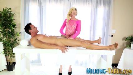Teen masseuse tugs cock