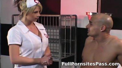 Busty blonde nurse in anal scene