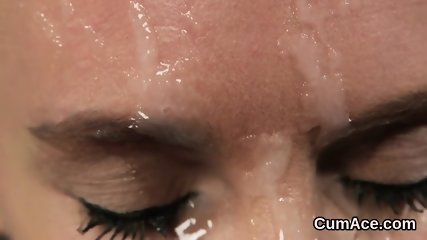 Randy bombshell gets jizz shot on her face gulping all the jizm