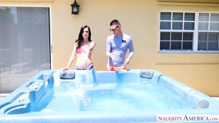 Sexy Friend Seduced In Hot Tub - scene 1