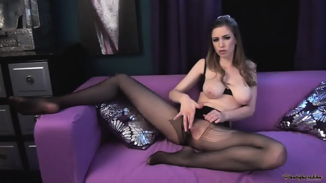 Torn Pantyhose On Her Sexy Legs