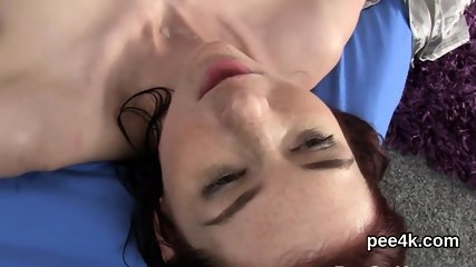 Luscious doll gets her spread twat complete of warm pee and bursts