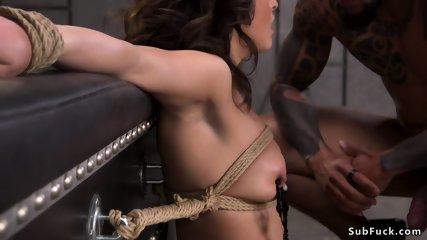 Brunette slut taked huge black cock bdsm