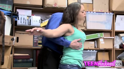 Perfect brunette teen bangs with two security guards