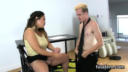 Sweeties pound guys anal with enormous strap-ons and squirt cum
