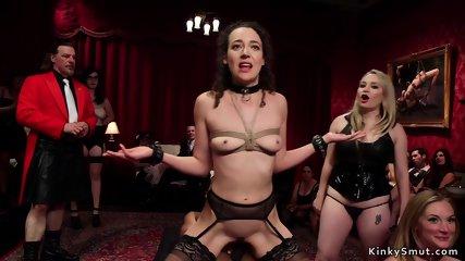 Mistress fucks lesbian at orgy party