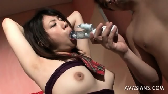 Hairy Jap Schoolgirl Is Bound On Chair By A Stranger