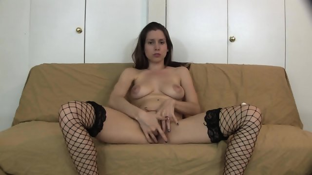 Amateur Girl With Fishnets In Solo Action