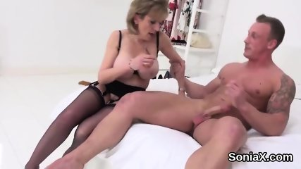 Cheating english milf lady sonia shows her enormous balloons