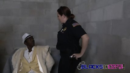 Dirty Black Pimp now knows what it feels like to be treated like a slut by two white busty milf cops
