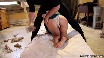 Asian slave gets threesome training fuck