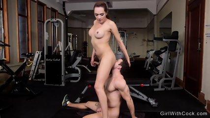 Big tits tranny anal pounds guy at gym - scene 12